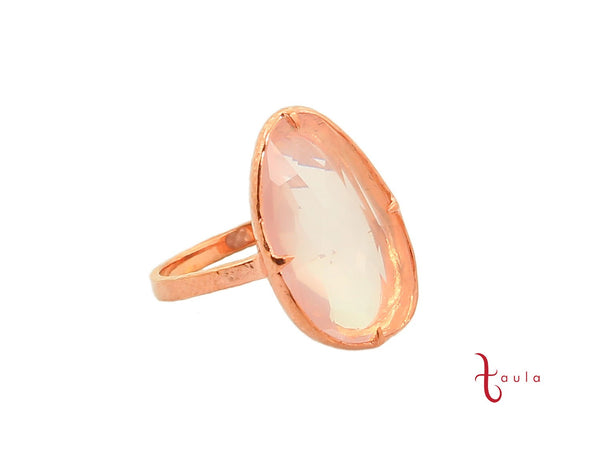 ROSE QUARTZ RING IN 925 SILVER & ROSE GOLD