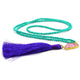 GREEN TURQUOISE BEADS WITH PINK AGATE BLUE TASSEL NECKLACE