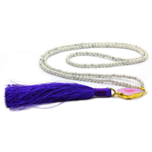 WHITE TURQUOISE WITH AGATE TASSEL NECKLACE ON BLUE TASSEL - Taula Pte Ltd