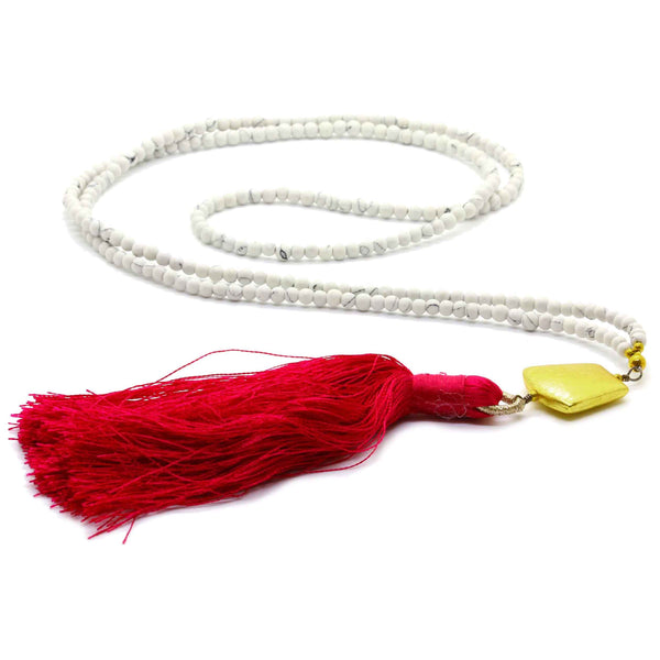 WHITE BEADS TASSEL NECKLACE
