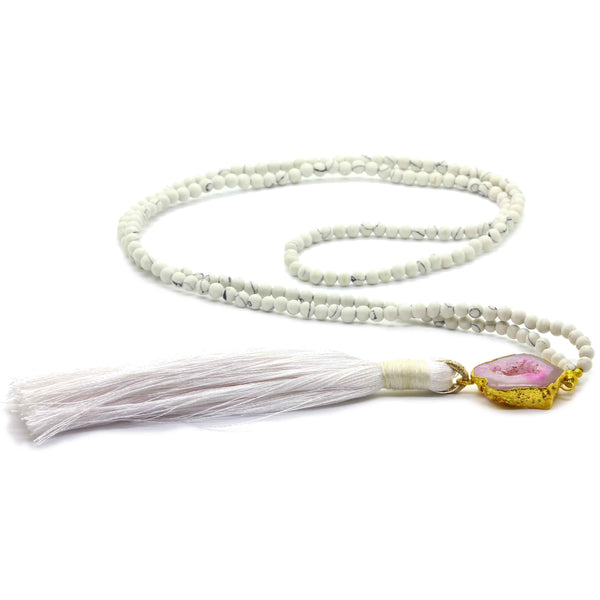 WHITE TURQUOISE WITH AGATE TASSEL NECKLACE - Taula Pte Ltd