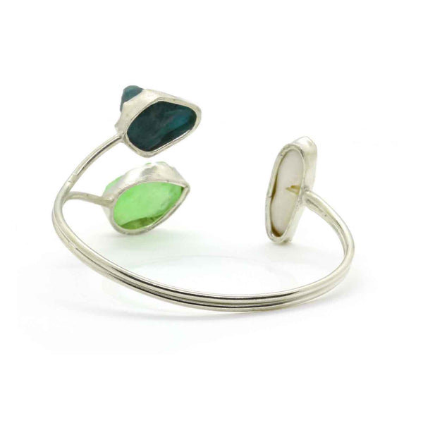 Three Stone Cuff with Mother of Pearl in Brass - Taula Pte Ltd