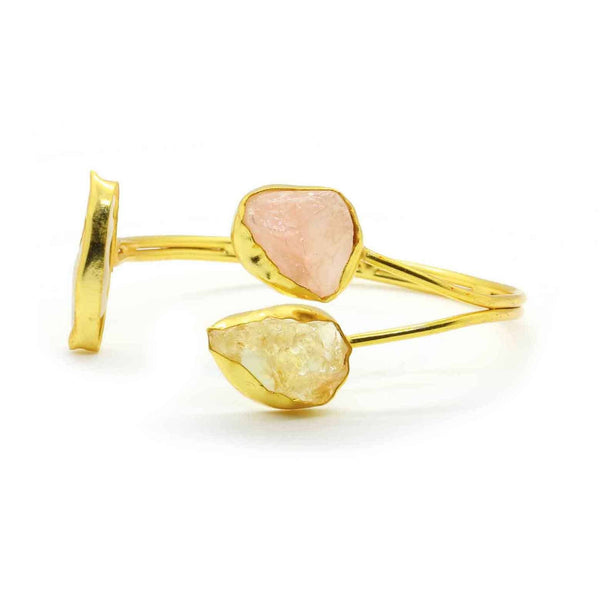 Gold Plated Natural Rose Quartz & Citrine Cuff in Brass - Taula Pte Ltd
