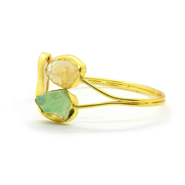 Gold Plated Natural Citrine & Solar Quartz Cuff in Brass - Taula Pte Ltd