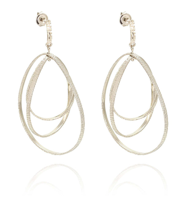 TRIO DROP EARRINGS IN 925 STERLING SILVER & 18K GOLD PLATING - Taula Pte Ltd