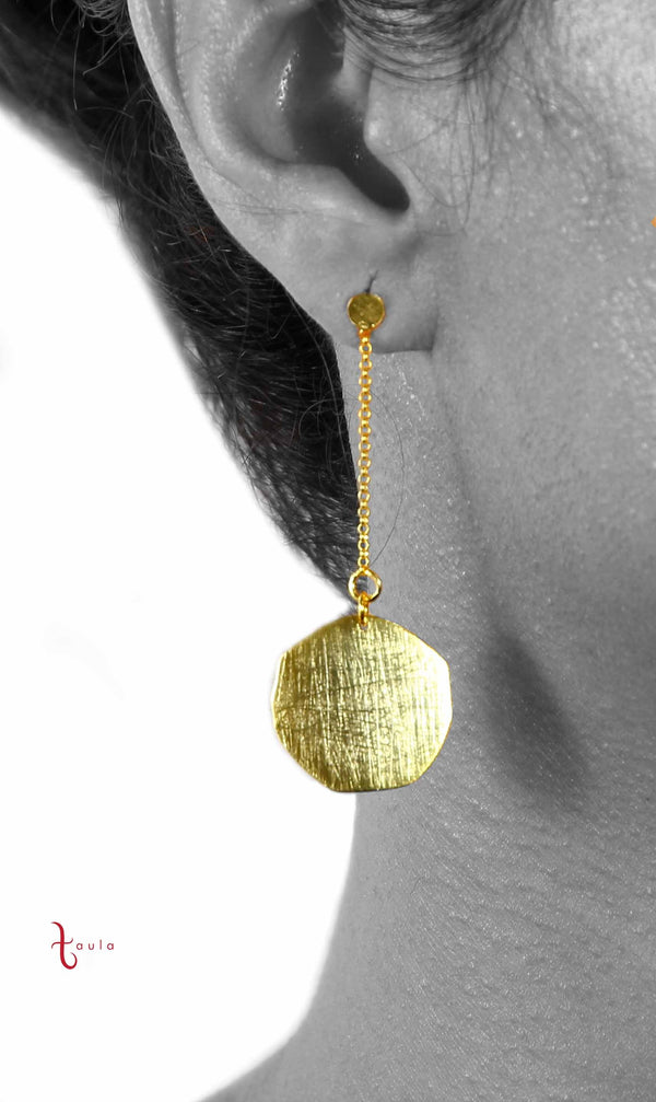 WAFER EARRINGS IN 925 STERLING SILVER & 18K YELLOW GOLD PLATING - Taula Pte Ltd