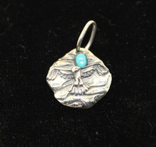Load image into Gallery viewer, Tribal Eagle Sterling Silver 925 Necklace Pendant w/ Turquoise - 9 grams