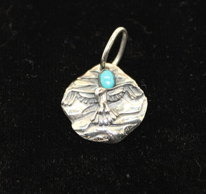 Tribal Eagle Sterling Silver 925 Necklace Pendant w/ Turquoise - 9 grams