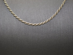 "Sterling Silver 925 Rope Chain Necklace - 30"", 14.9 grams"