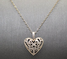 Load image into Gallery viewer, Lucky Irish Four Leaf Clover in a Heart Necklace Pendant, Sterling Silver 925