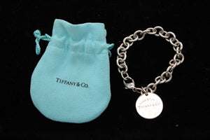 "Sterling Silver Return To Tiffany Rolo Chain Link Charm Bracelet - 7.5"", 36.8g"