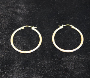 Two-Tone Sterling Silver 925 Earrings w/ Accent Grooves - 30mm, 2mm, 2.1 grams