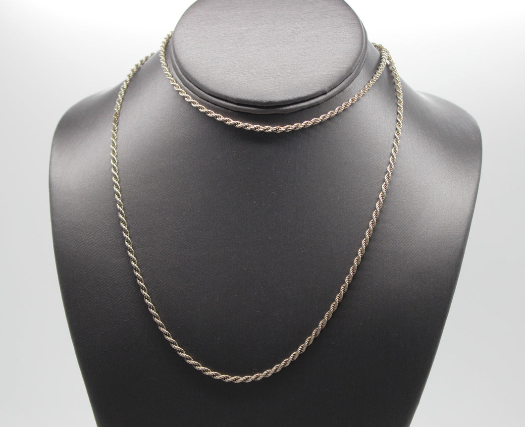 Sterling Silver 925 Rope Chain Necklace - 30
