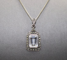Load image into Gallery viewer, Cubic Zirconia & Marcasite Stone Necklace Pendant, Sterling Silver 925 Box Link
