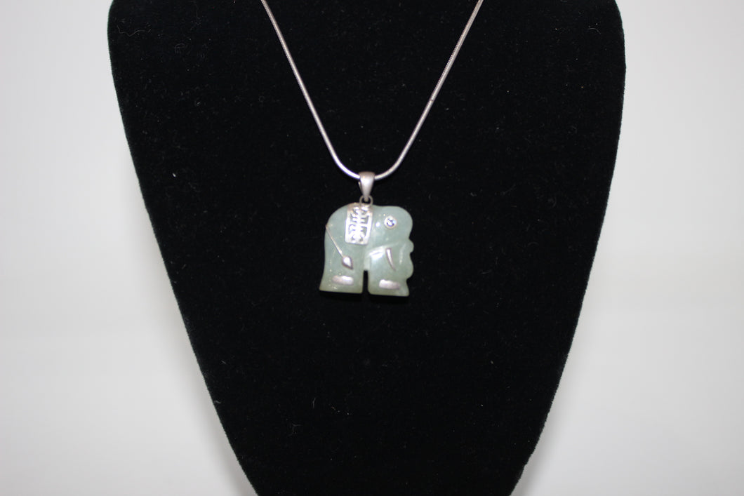 Elephant Stone Pendant Necklace - 20 Inch