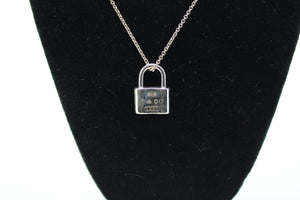 Tiffany & Co Sterling Silver 1837 Pad Lock Love Charm Pendant Necklace 16""