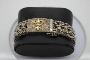 Sterling Silver Bracelet with 14K Gold Crest Design - 8 Inches, 68.7 grams