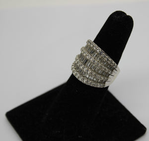 Sterling Silver 925 Ring w/ Round & Baguette Cubic Zirconia - Size 5.5, 8.4g