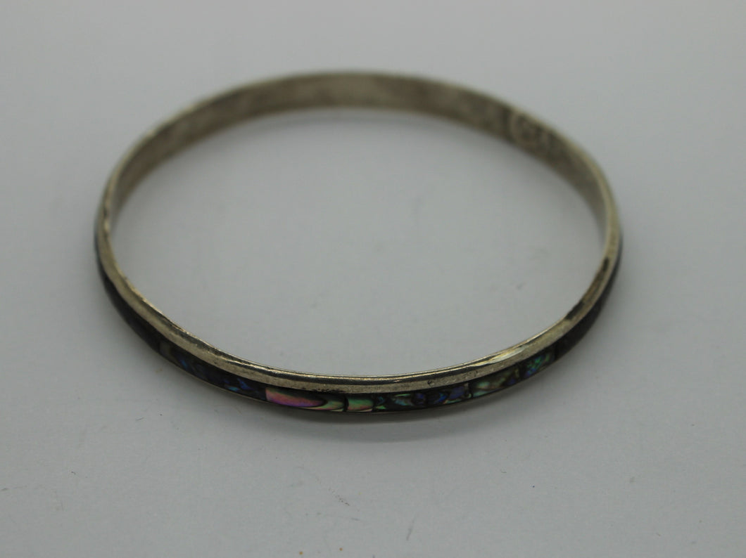 Vintage Sterling Silver Abalone Design Bangle Bracelet - 7