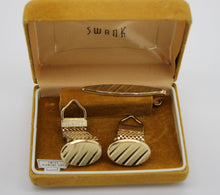 Load image into Gallery viewer, Vintage SWANK Cuff Links and Tie Clip w/ Box, Swiss Diamond Cut