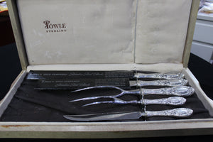 Towle Sterling Deep Tempered Stainless Steel Blade 5 Piece Set, Sterling Silver