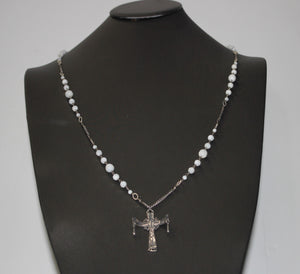 "Authentic CHAN LUU Cross & White Bead Sterling Silver 925 Necklace - 38"", 29.5g"