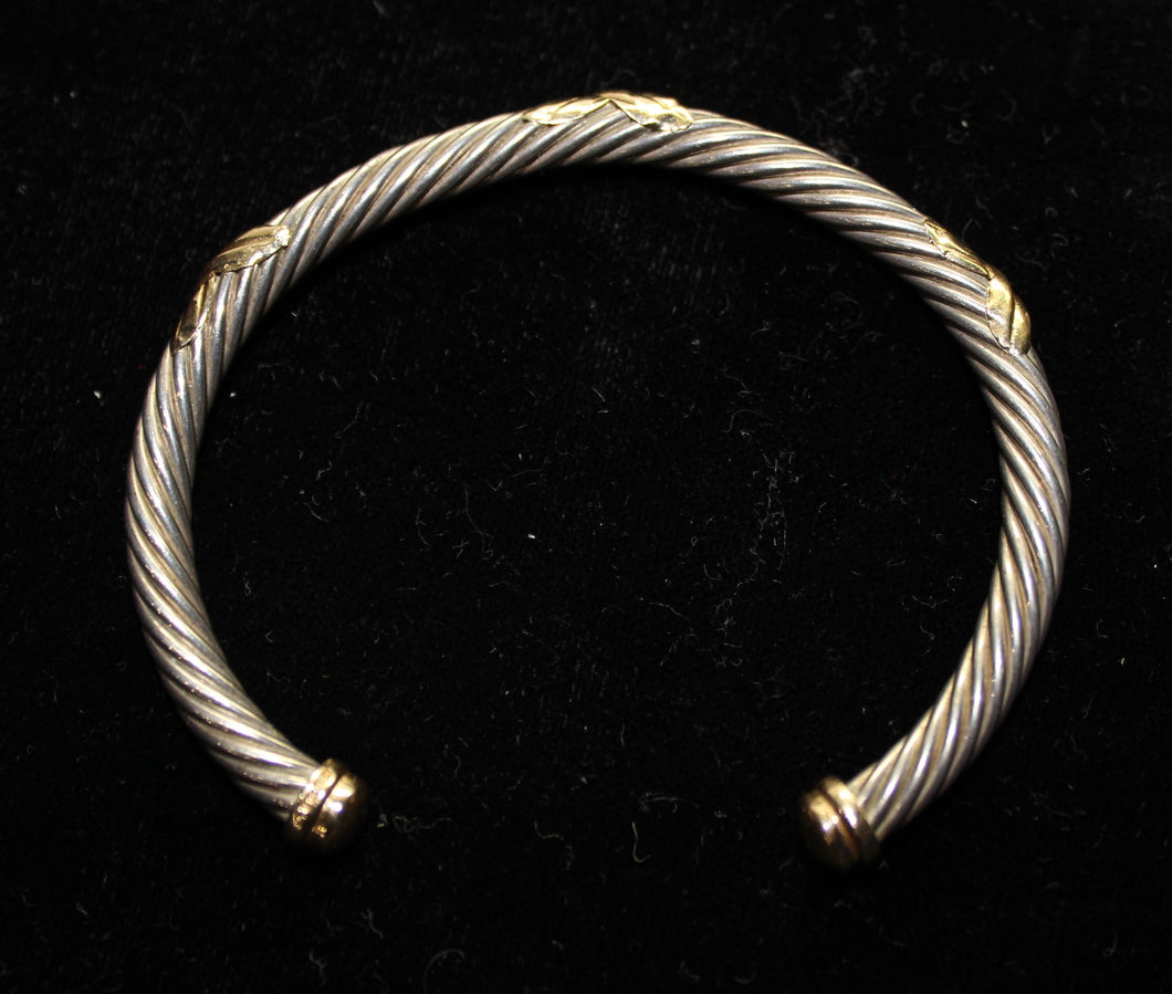 David Yurman Style Sterling Silver Bracelet with 14K Gold Pieces, 5mm Cable