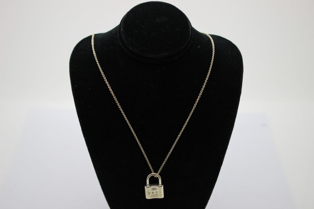 Tiffany & Co Sterling Silver 1837 Pad Lock Love Charm Pendant Necklace 16