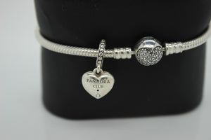 "Pandora Sterling Silver (925) Heart Charm (w/ Diamond) Bracelet - 7"", 17.5 grams"