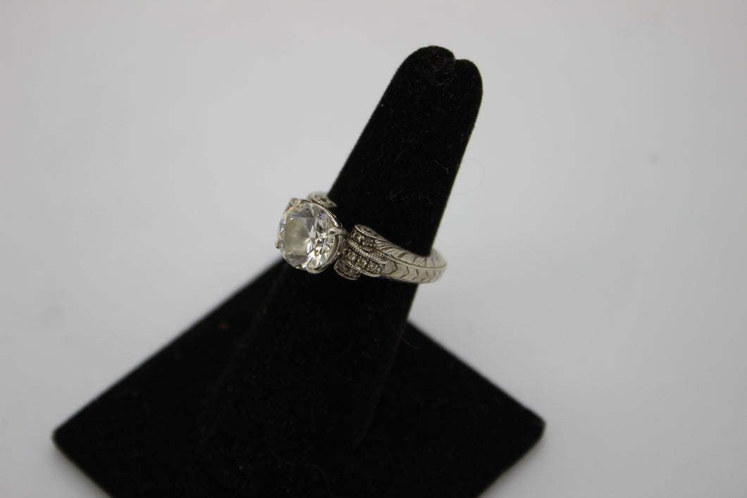 Ladies Fancy Engagement Ring - Sterling Silver w/ Cubic Zirconia - 5.8g, Size 6