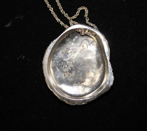 "Sterling Silver 925 Necklace w/ Rock Shaped Pendant - 30"", 31.8 grams"