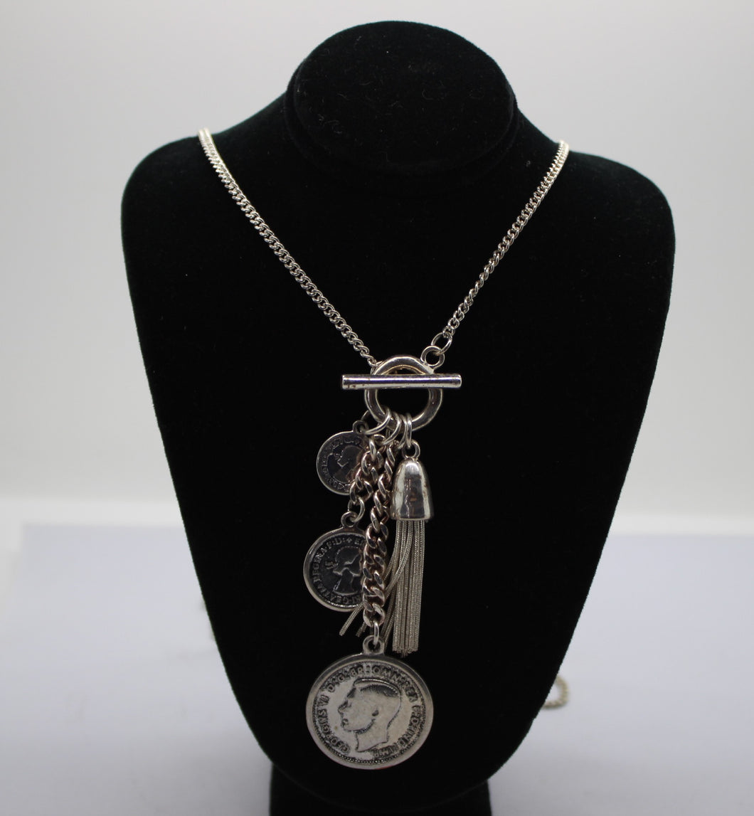 Custom Coin Necklace - Silver Plated Copper Chain - Georgius VI Coins