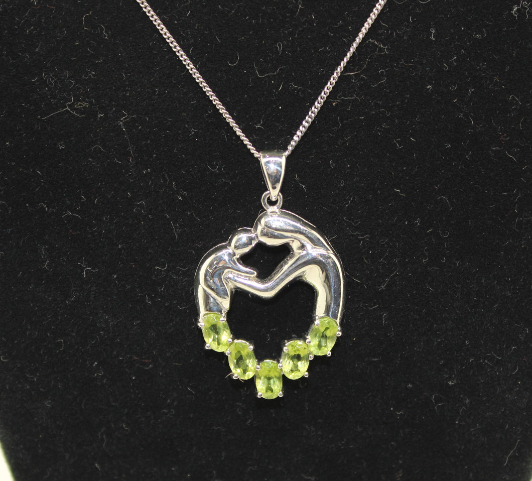 Mother Her Baby/Child Necklace, Sterling Silver 925 w/ Synt. Peridot - 16