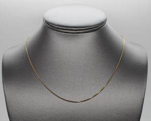 "Gold-Tone Box Link Sterling Silver 925 Necklace - 18"", 2.5 grams, ITALY"