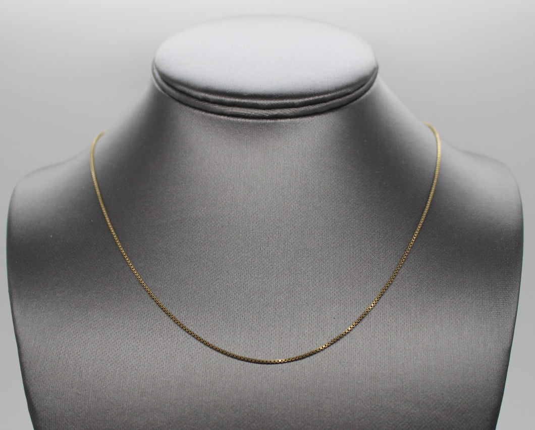 Gold-Tone Box Link Sterling Silver 925 Necklace - 18
