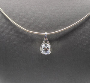 "Cubic Zirconia Stone Necklace, Sterling Silver 925 - 20"", 18 grams"