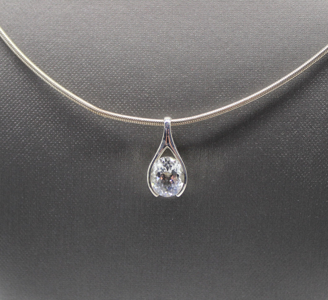 Cubic Zirconia Stone Necklace, Sterling Silver 925 - 20