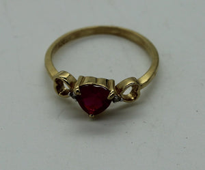 Ladies Heart Shape Ruby Diamond Ring