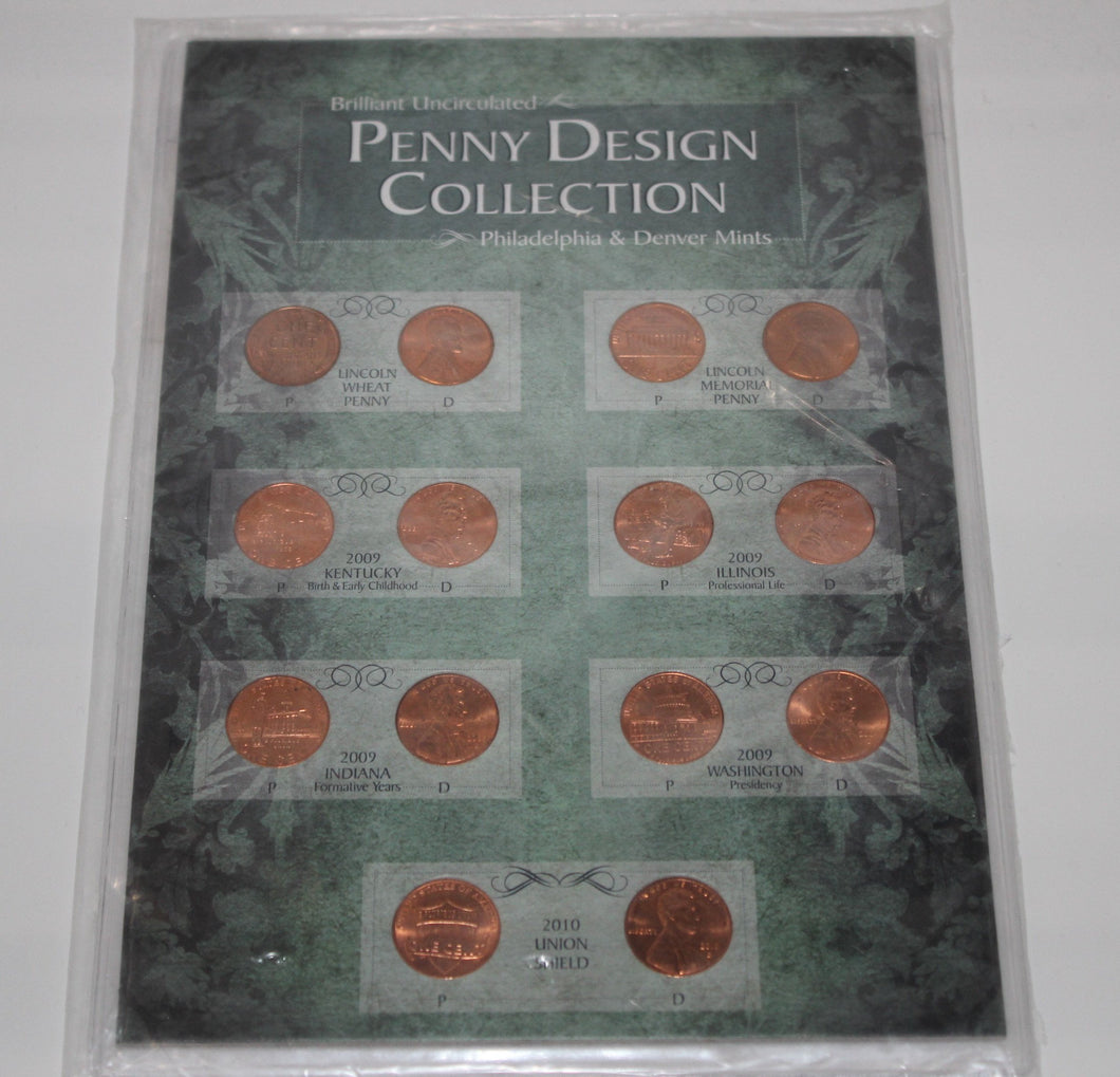 Brilliant Uncirculated Penny Design Collection - Philadelphia & Denver - U.S. Coins