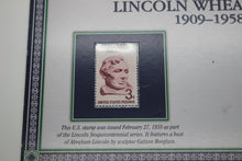 Load image into Gallery viewer, 1958P Lincoln Wheat Penny with 3C Postage Stamp - Uncirculated Edition