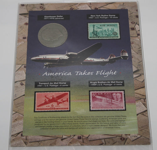 American Coin Treasures - America Takes Flight - Eisenhower Dollar & Stamps