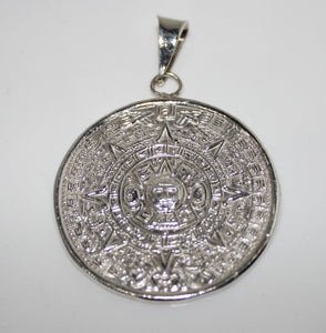 Sterling Silver Aztec/Mayan Calendar Pendant for Necklace