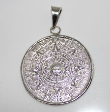Load image into Gallery viewer, Sterling Silver Aztec/Mayan Calendar Pendant for Necklace