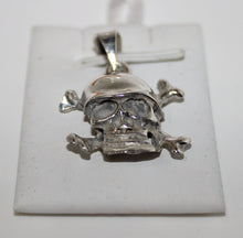 Load image into Gallery viewer, Sterling Silver (.925) Skull Biker Crossbones with Helmet Pendant for Necklaces