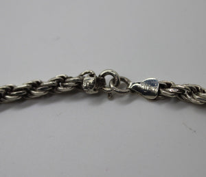 Sterling Silver (.925) Rope Style Necklace - 22 Inches - 38.9 Grams - ITALY