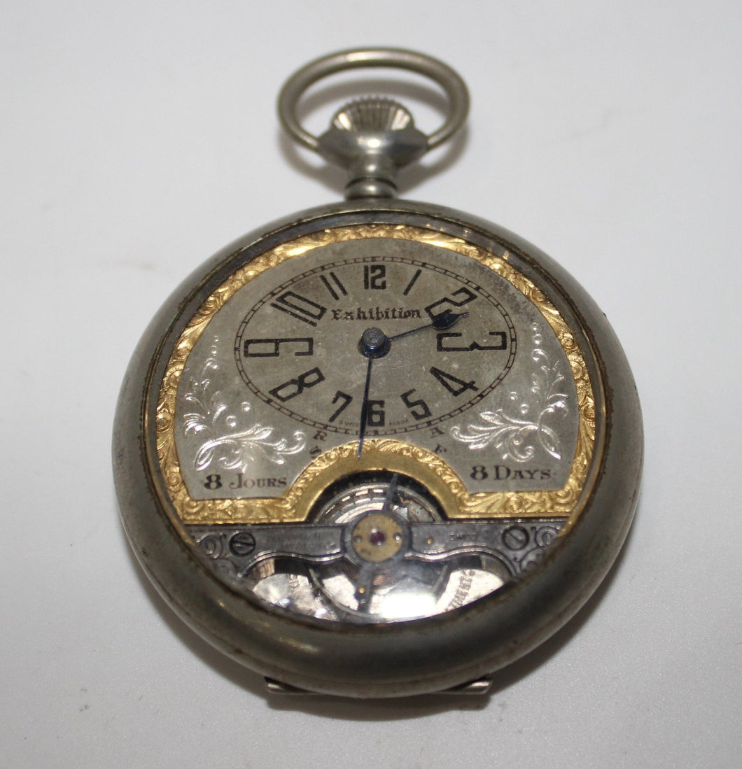 Vintage Hebdomas Style Windsor Exhibition Swiss Pocket Watch - 8 Day, Fancy