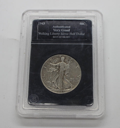 1943 Walking Liberty Silver Half Dollar 50C - Authenticated, Very Good