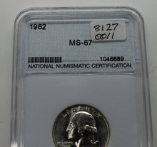 Load image into Gallery viewer, 1962 Washington Quarter Graded at MS-67