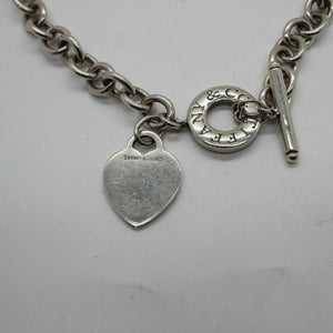 Tiffany & Co. 925 Sterling Silver Heart Necklace & Toggle Clasp - 16 inches