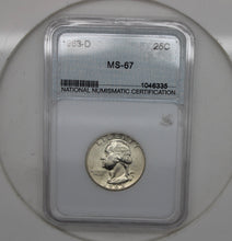 Load image into Gallery viewer, 1963-D Washington Quarter Graded MS-67 RARE